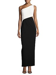 Calvin Klein Colorblock One Shoulder Gown White Black