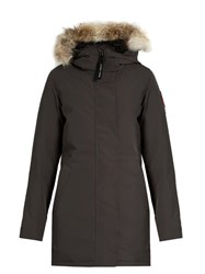 Canada Goose Victoria Fur Trimmed Down Padded Parka Charcoal