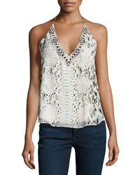 Haute Hippie Scarface Beaded Printed Silk Halter Top