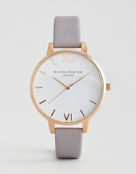 Olivia Burton Grey Lilac Large White Dial Leather Watch Grey Lilac