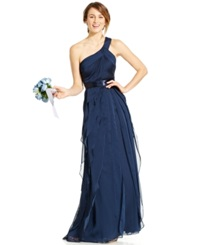 Adrianna Papell One Shoulder Tiered Chiffon Gown Midnight Blue