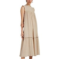 Raquel Allegra Puckered Cotton Gauze Maxi Dress Sand