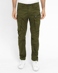 G Star Khaki Rovic Zip 3D Washed Army Cargo Trousers