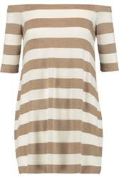 Bailey 44 Off The Shoulder Striped Stretch Jersey Mini Dress Light Brown