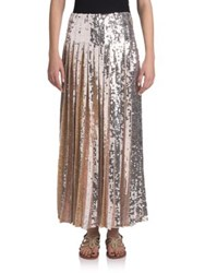 Emilio Pucci Long Pleated Sequin Skirt Blush