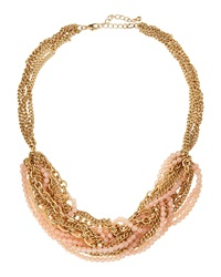 Lydell Nyc Mixed Chain And Beaded Torsade Necklace Pink
