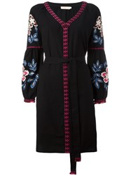 Tory Burch Flower Embroidered Dress Black