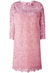 Ermanno Scervino Lace Overlay Dress Pink And Purple