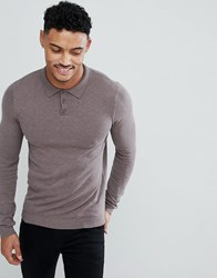 Asos Design Muscle Fit Knitted Polo In Light Khaki Slate Stone Grey