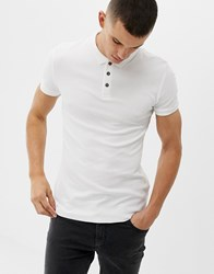 New Look Muscle Fit Ribbed Polo In White