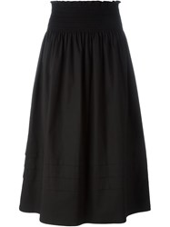 Red Valentino Ruched Waist Full Skirt Black