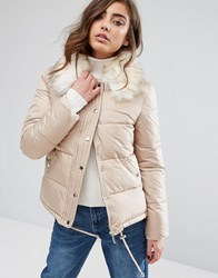 Miss Selfridge Faux Fur Collar Quilted Padded Jacket Champagne Beige