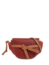 Loewe Gate Mini Color Blok Leather Bag Garnet