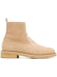 Ami Alexandre Mattiussi Zipped Boots With Crepe Sole Nude And Neutrals