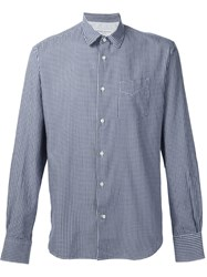 Officine Generale Gingham Check Shirt Blue
