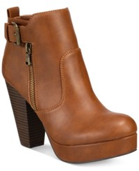 Material Girl Raelyn Block Heel Platform Booties Only At Macy's Women's Shoes Cognac