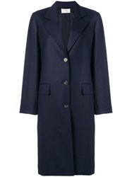 The Row Single Breasted Coat Blue