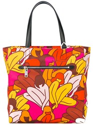 Bally Floral Print Tote Women Leather Nylon One Size