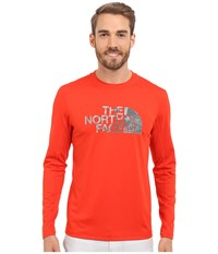 The North Face Long Sleeve Sink Or Swim Rashguard Fiery Red Asphalt Grey Moss Print Men's Swimwear Orange