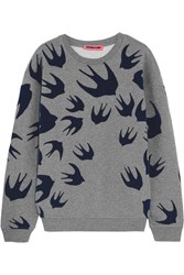 Mcq By Alexander Mcqueen Flocked Cotton Blend Terry Sweatshirt Gray