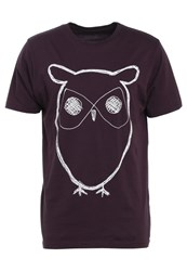 Knowledge Cotton Apparel Owl Print Tshirt Plum Perfect Bordeaux