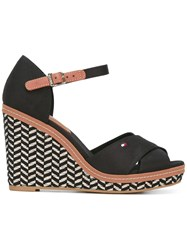 Tommy Hilfiger Woven Wedge Sandals Women Cotton Leather Rubber 37 Black