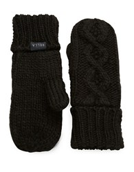 Rella Cable Knit Mittens Black