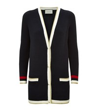 Gucci Embroidered Contrast Trim Cardigan Female Black