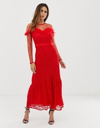 Liquorish Maxi Dress With Lace Overlay And Ruffle Detail Red