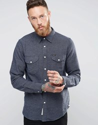 Lee Worker Dot Brushed Shirt Navy Bright Navy