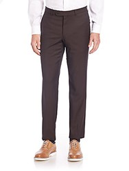 Saks Fifth Avenue Collection Solid Wool Pants Brown