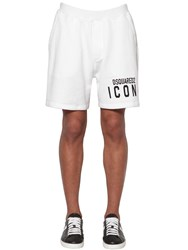 Dsquared Print Icon Logo Cotton Jersey Shorts White