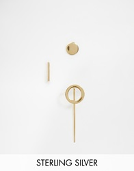 Asos Gold Plated Sterling Silver Mixed Shapes Ear Stud And Cuff Pack