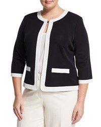 Ming Wang Contrast Trim Knit Jacket Naw