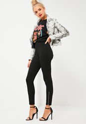Missguided Black Biker Knee Zip Detail Ponte Leggings