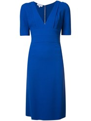 Narciso Rodriguez Fitted Waist V Neck Dress Blue