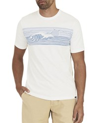 Faherty Wave Print T Shirt White Blue