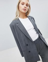 Weekday Oversized Double Breasted Check Suit Blazer Mono Check Black