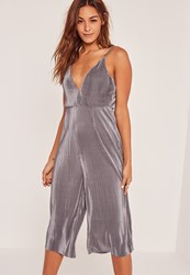 Missguided Grey Pleated Strappy Culotte Jumpsuit