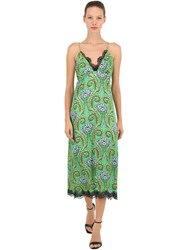 Pink Memories Printed Silk And Lace Slip Dress Green