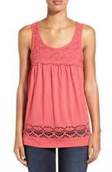 Women's Caslon Boho Lace Trim Tank Red Chateaux
