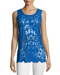 Laundry By Shelli Segal Embroidered Mesh Tank Bright Blue Beret
