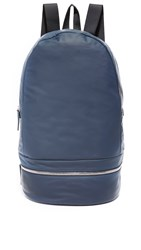 Z Zegna Popeline Leather Backpack Vintage Indigo Grey