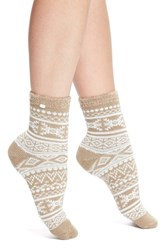 Women's Ugg Australia Fair Isle Fleece Socks Brown Sugar Pine
