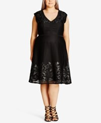 City Chic Trendy Plus Size Mesh Overlay Fit And Flare Dress Black