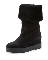 Salvatore Ferragamo Falcon Shearling Fur Lined Boot Black Nero Offblack