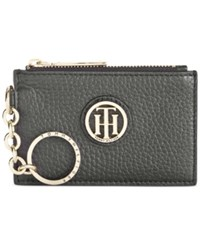 Tommy Hilfiger Lucky Charm Pebble Leather Id Coin Purse Black