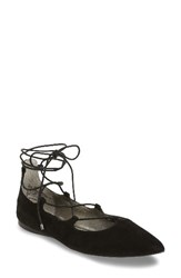 Women's Bp. 'Katrina' Pointy Toe Ghillie Flat Black Suede