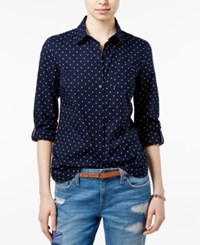 Tommy Hilfiger Polka Dot Roll Tab Shirt Masters Navy Snow White