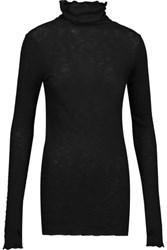 Enza Costa Ruffled Ribbed Cotton Turtleneck Top Black
